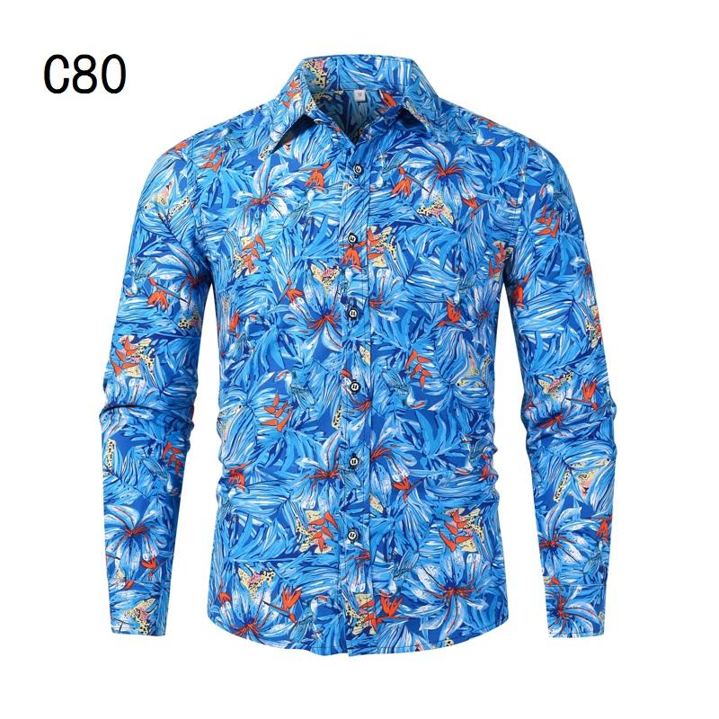 1507-C80-P18男装2021秋装新款大码长袖衬衫花色印花衬衣男装免烫