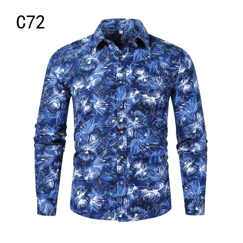 1507-C72-P18男装2021秋装新款大码长袖衬衫花色印花衬衣男装免烫