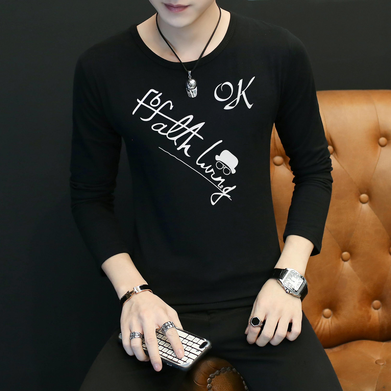 1611B-CT16-P12 新款长袖T恤创意印花初中高中大学青少年T恤OK黑