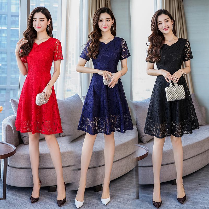 2018新款大码女装胖mm夏装韩版修身显瘦中长款气质时尚蕾丝连衣裙