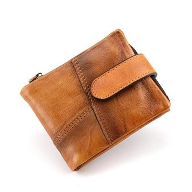 I layer work wallet B retro mens short multi card Z money collet. K leather large capacity u double fold womens purse 1