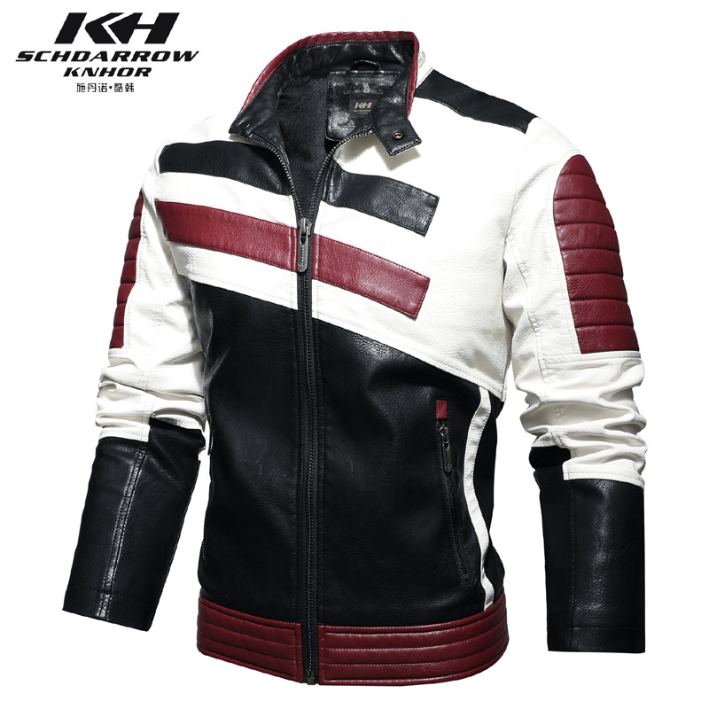 Cross border stand collar mens motorcycle leather clothes motorcycle racing clothes patchwork color Pu simulated leather jacket tide brand coat