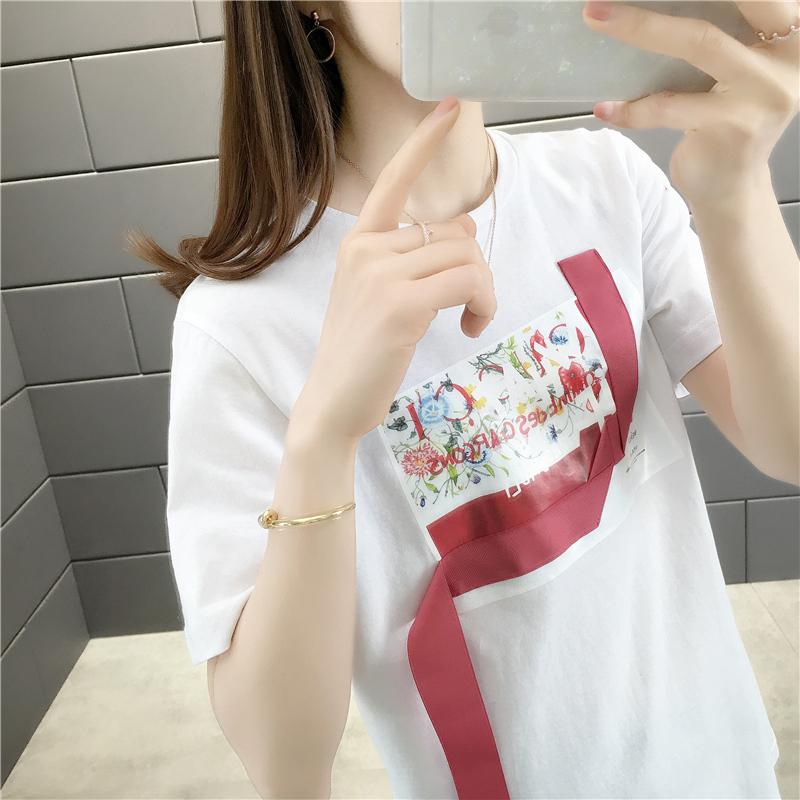 16452特卖实拍新款飘带拼接圆领短袖T恤--可代发联系阿里旺旺