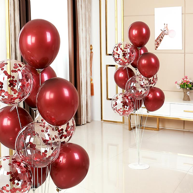 网红桌飘结婚宝石红气球婚庆婚房男女方婚房布置支架地飘立柱装饰