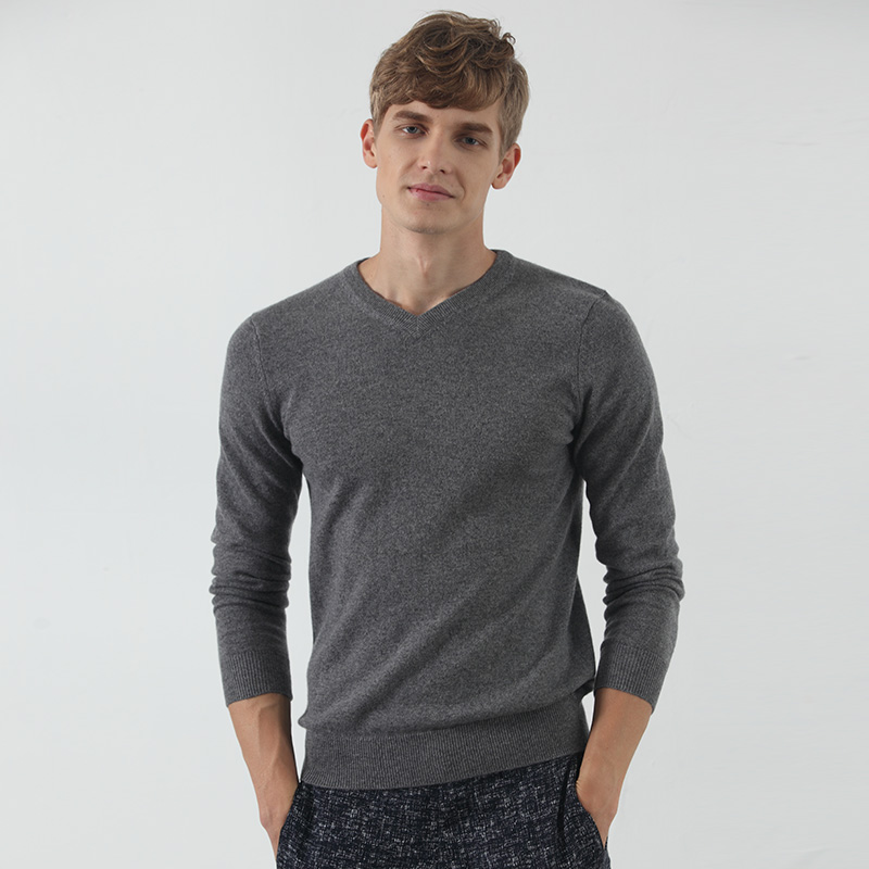 Saussurea autumn new V-neck solid color versatile cashmere sweater thickened Pullover Sweater mens sweater