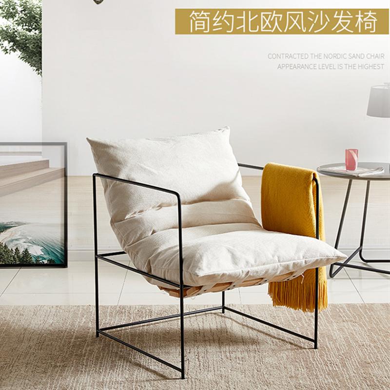 极简小沙发卧室布艺双人懒人铁艺北欧简约现代单人网红ins沙发椅