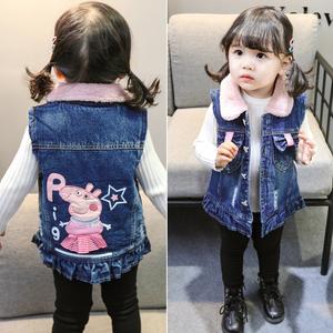 女童马甲冬季外穿潮韩版牛仔背心加绒公主中小童宝宝洋气加棉马夹