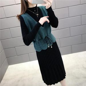 御姐范秋冬针织套装女2020新款气质马甲背心毛衣裙职业两件套裙子