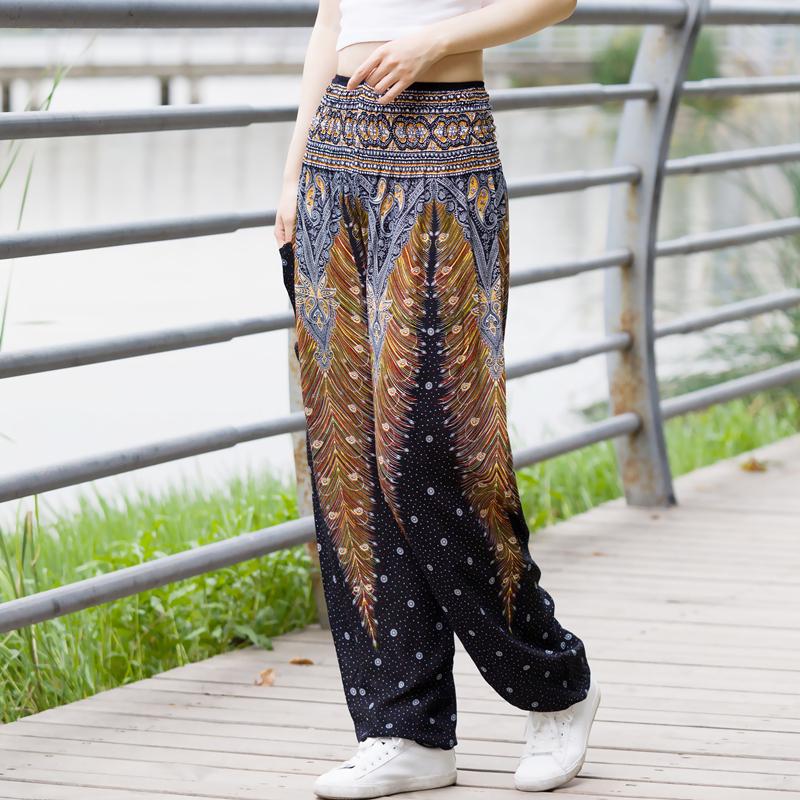 波西米亚宽松阔腿裤泰国尼泊尔民族风沙滩长裤女夏棉绸灯笼裤瑜伽