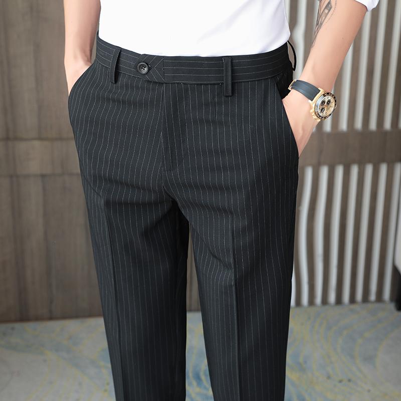 高品质!条纹西裤男商务休闲裤抗皱修身小脚长裤基地酒店A25/P70
