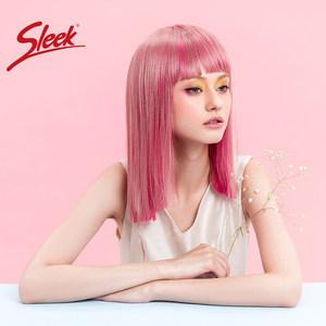 sleek假发女齐刘海中长直发齐肩锁骨发炫色渐变青春时尚潮流头套