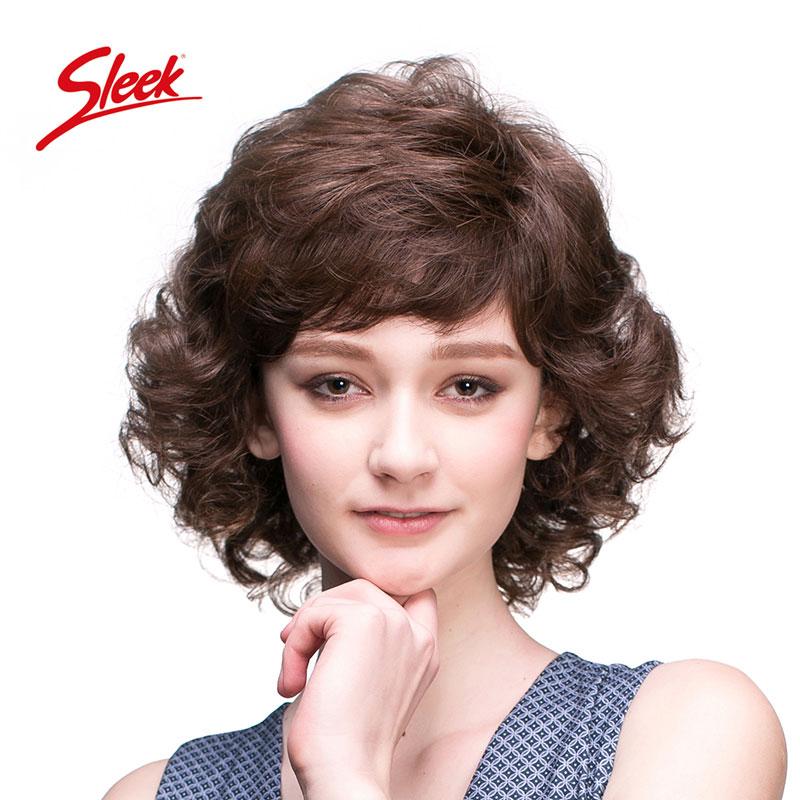 sleek假发女短发短卷发大波浪自然中老年妈妈真发整顶假发套头套