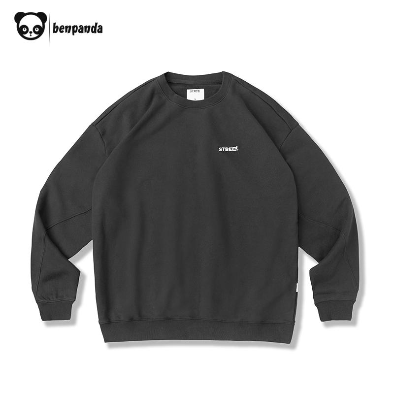 熊猫本&STBEE联名款 春季日系刺绣卫衣男潮圆领套头青年潮牌外套