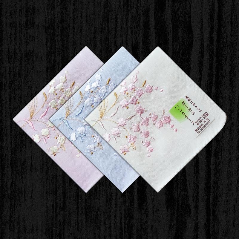 日本制刺绣女手帕纯棉纱布吸汗女手绢单面绣花全棉双层厚款铃兰花