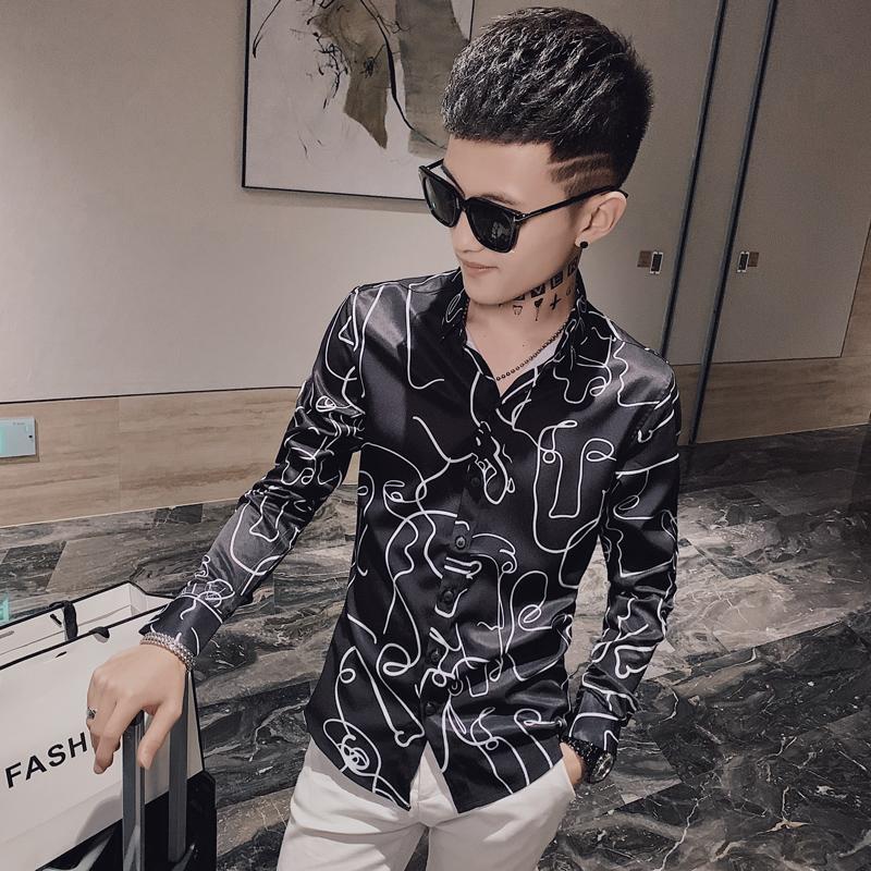 2020秋装新款男士长袖衬衫修身衬衣时尚精神小伙潮流 DH50-P55
