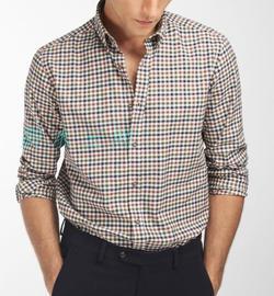 冬 西班MD牙 格紋 修身厚款 男式長袖襯衫圖片