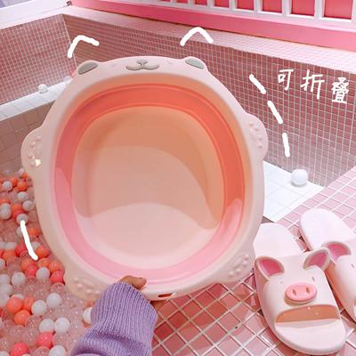 可折叠洗脸盆可爱少女学生宿舍便携式旅行塑料家用盆子小号洗脚盆