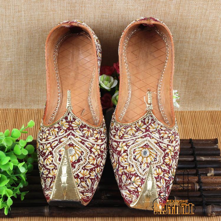 巴基斯坦高级手工缝制牛皮男鞋勾魂鞋民族风特色舞会印度婚礼鞋子