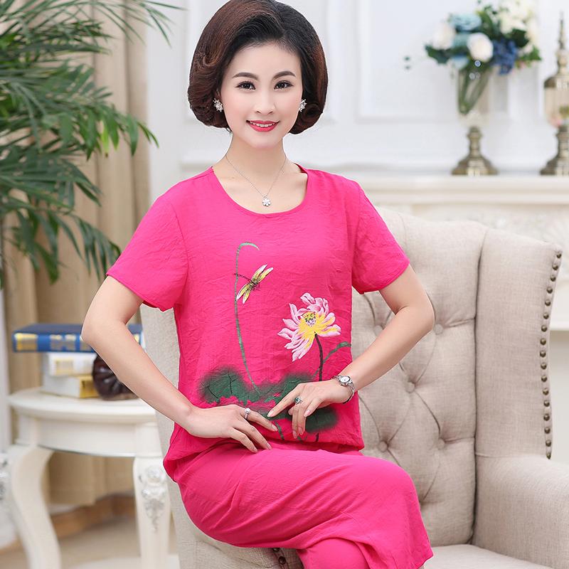 2018夏季新款短袖棉麻两件套40-50-60岁母亲节妈妈套装中老年女装