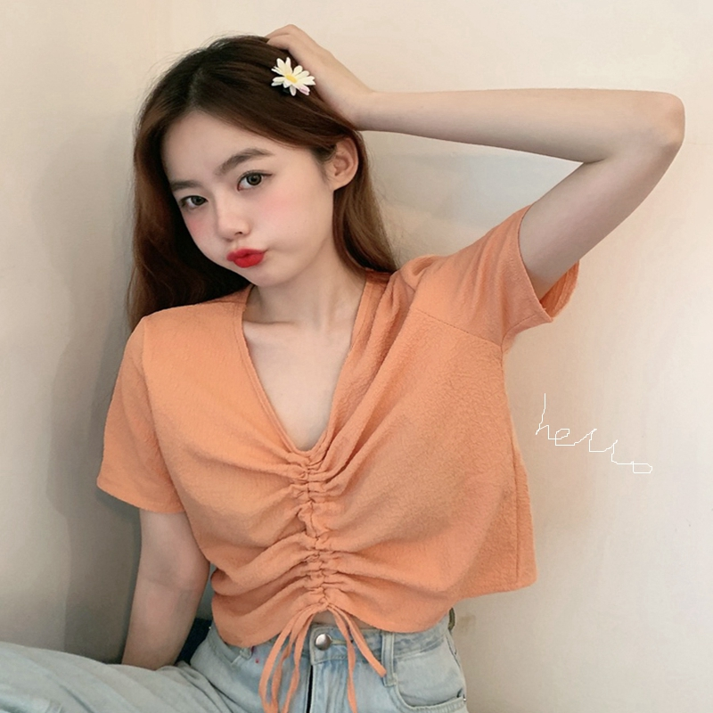 Loose short V-neck short sleeve T-shirt for women 2020 new summer Korean fold orange BM wind drawstring top trend