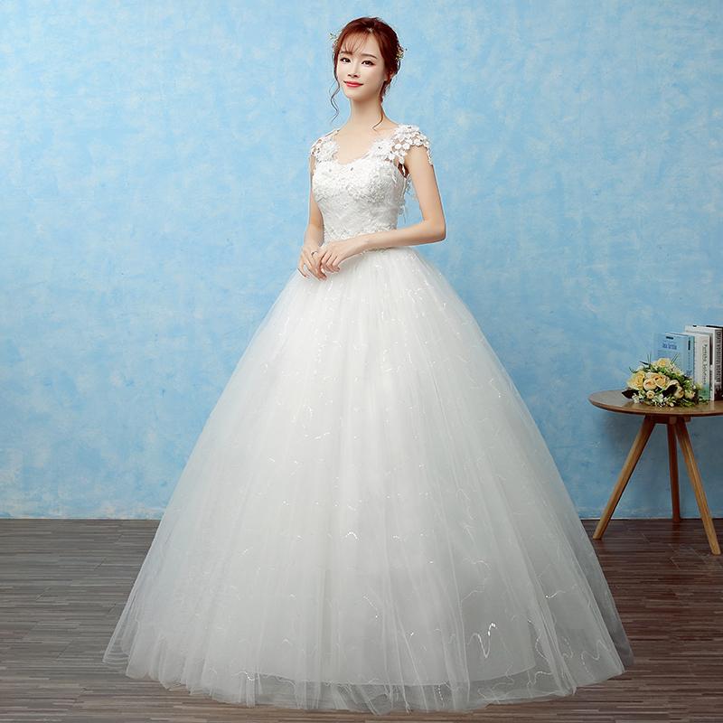 森系主婚纱礼服2019新款新娘结婚齐地韩式公主V领显瘦白色轻婚纱