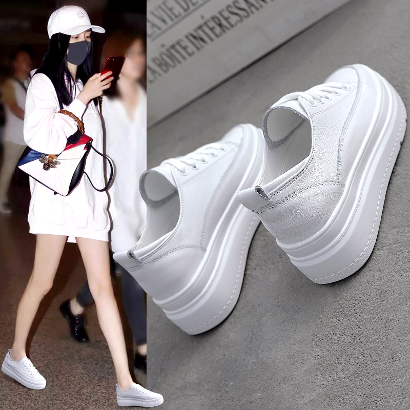 Womens shoes made of genuine leather and white New Korean version in 2021 spring