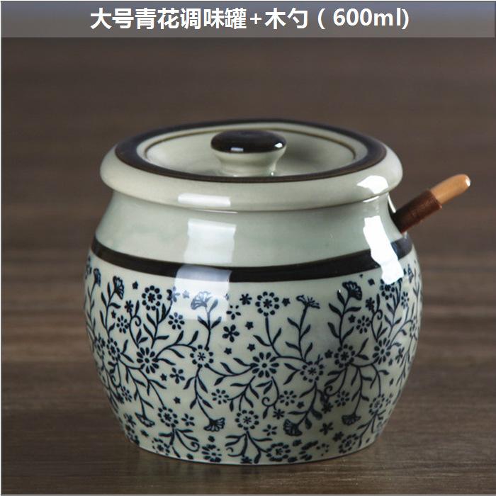 和風四季釉下彩陶瓷日式餐具廚房手繪調味罐 調味瓶 糖罐 鹽罐子
