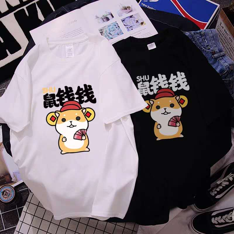 Laflof lovelove 2020 new mouse year mouse couple outfit spring and summer short sleeve cotton T-shirt student BF style