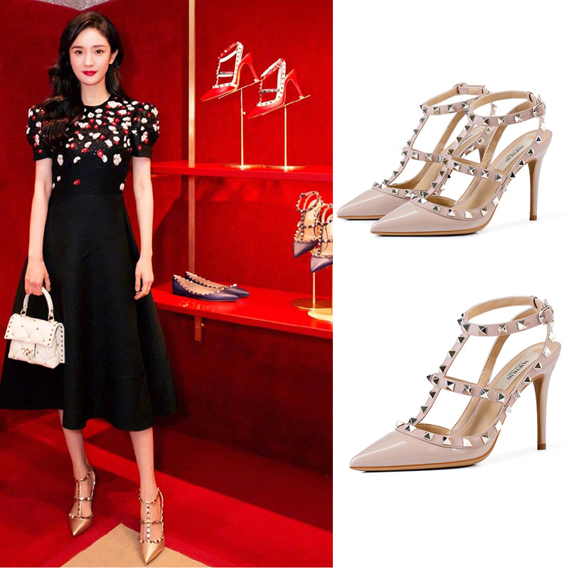 Mi Mis v-family rivet high heels womens thin heel Liu Ding pointed leather strap button wrap sandals women
