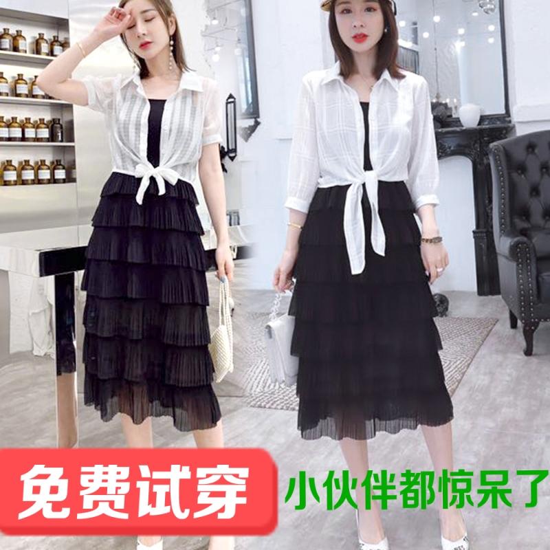 夏季两件套连衣裙女2019新款时尚蛋糕长款仙女套装裙层次流行裙子