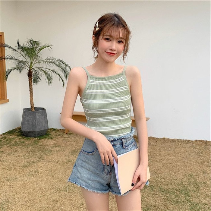 2020 summer new suspender vest with slim Hong Kong style womens striped simple top