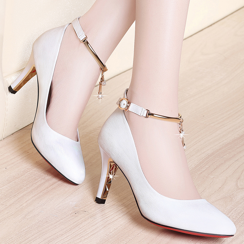 Spring and autumn 2020 new medium heeled Stiletto High Heeled Shoes