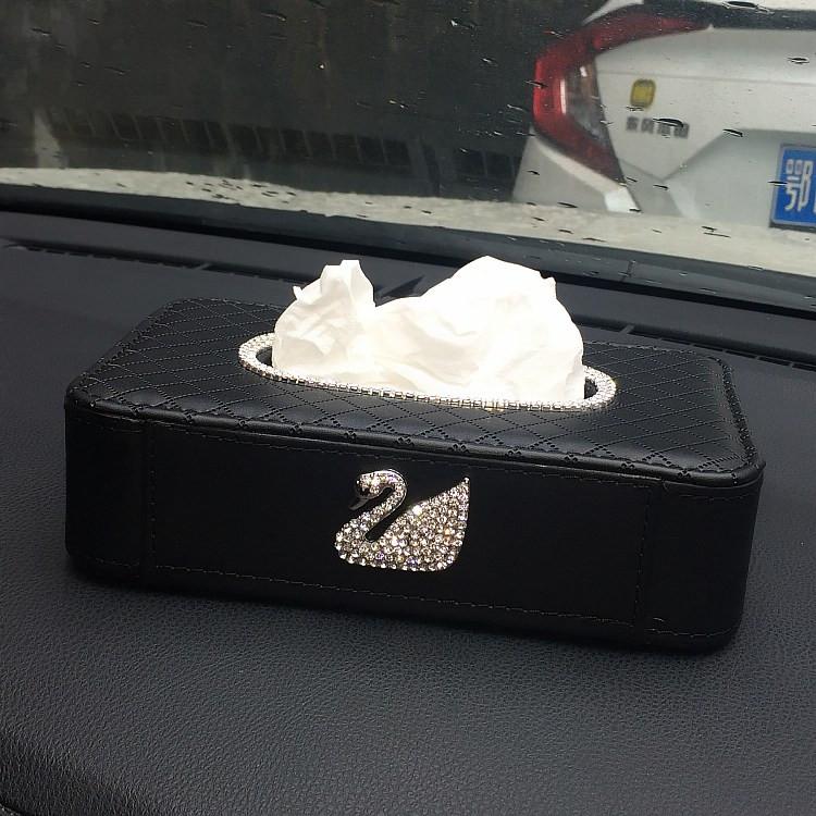 汽车带钻天鹅纸巾盒镶钻椅背挂式抽纸套车载车用摆放纸巾盒内饰品