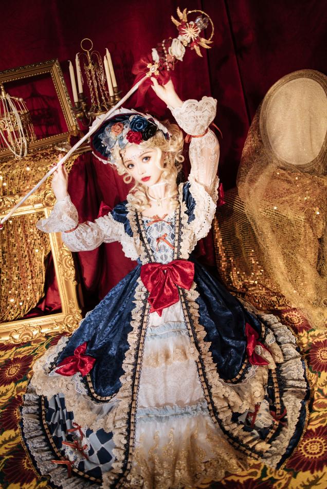 白雪梦境卡罗旋律lolita茶会款原创新款长袖op华丽连衣裙白雪姬裙