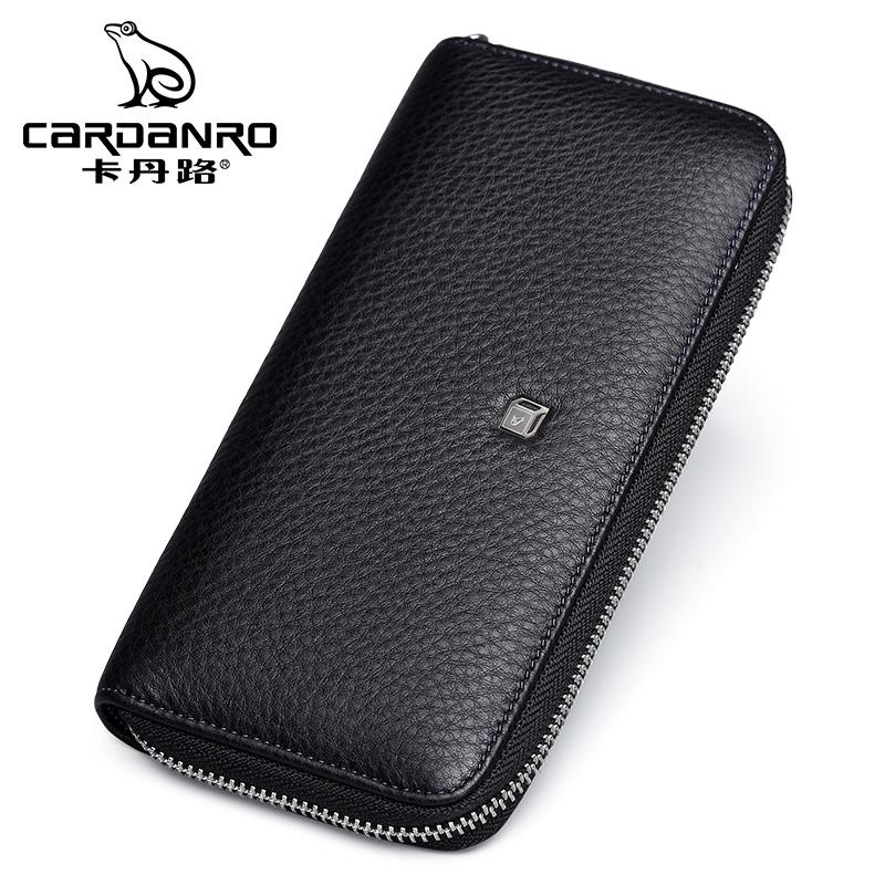 Cardan Road mens handbag business leather wallet long hand bag fashion casual hand bag head leather