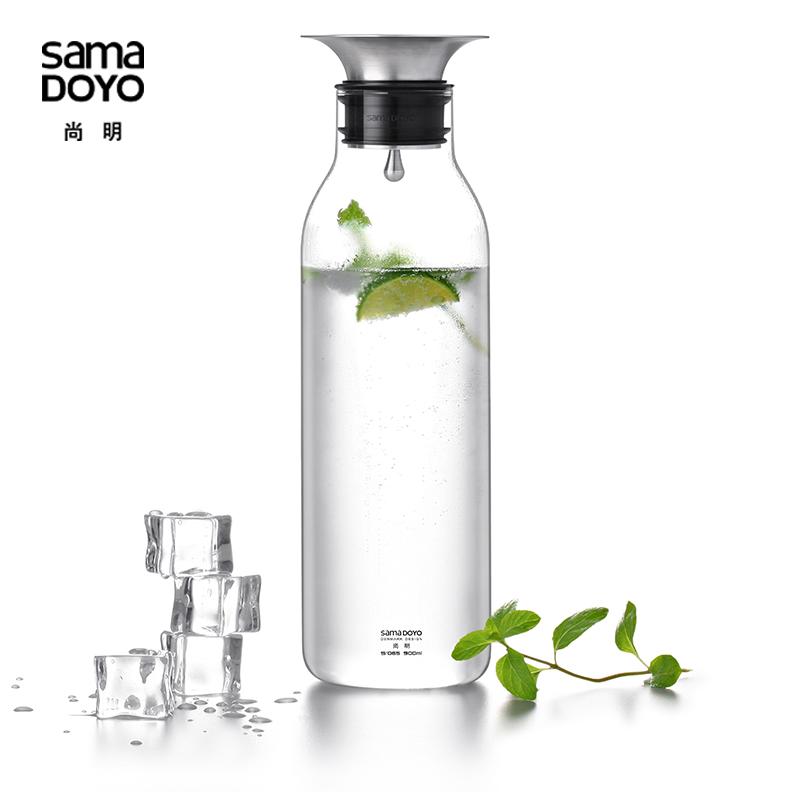 尚明玻璃冷水壺涼水壺 高硼矽耐熱玻璃水具果汁壺大容量水杯套裝