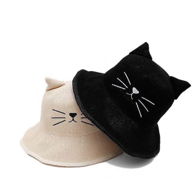小清新秋冬薄款猫咪渔夫帽女出游逛街可爱个性盆帽冬季百搭帽子