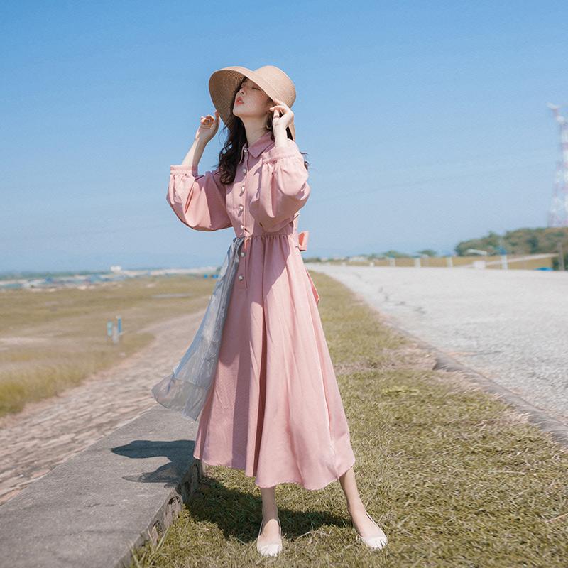 2020春裝新款女裝裙子收腰顯瘦法式復古輕熟風氣質洋氣連衣裙森系