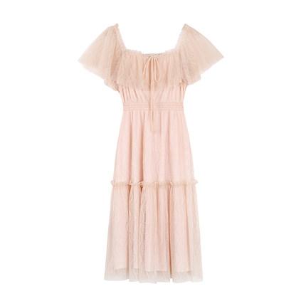 2019夏季新款流行很仙的网纱连衣裙