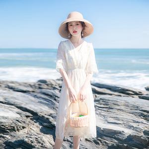 2020夏季新款女装裙子仙女超仙森系收腰显瘦气质五分袖法式连衣裙
