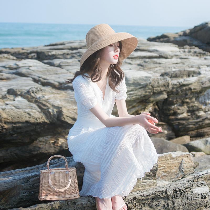 2020夏季新款女装裙子轻熟风轻奢名媛气质收腰显瘦法式复古连衣裙