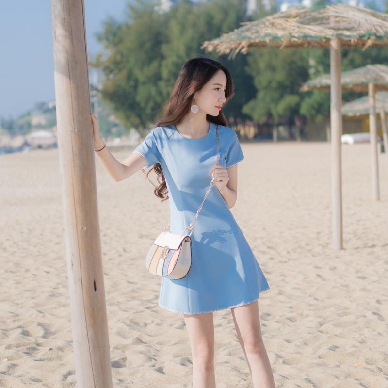 2018夏季新款女装气质修身显瘦收腰短袖A字裙纯色连衣裙短裙裙子