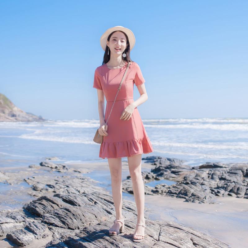 2019夏季新款修身显瘦小香风气质沙滩裙海边度假质鱼尾连衣裙裙子需要用券