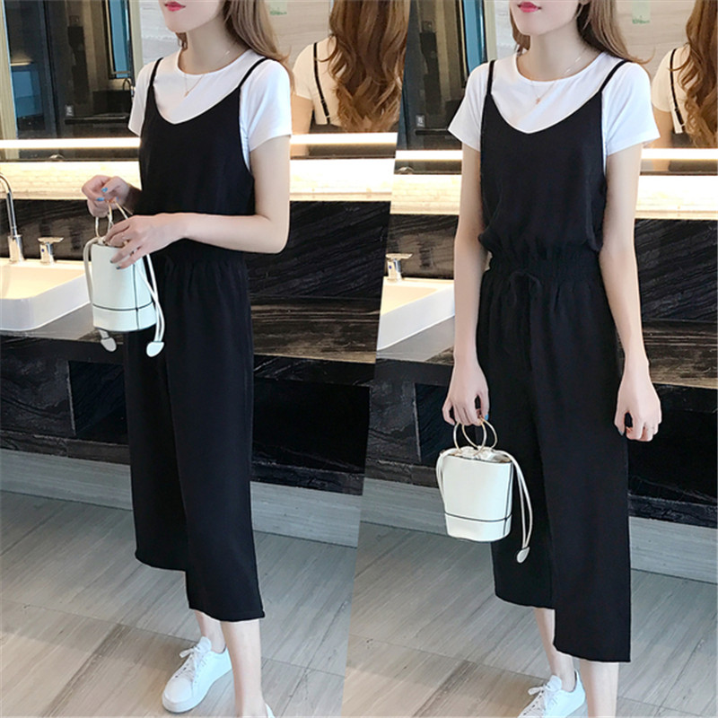 2021 summer new fashion Korean loose suspender pants with wide legs and two piece set of female students one-piece pants