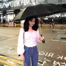 2019秋装设计感法式小众短款衬衫女洋气显瘦泡泡袖小心机锁骨上衣