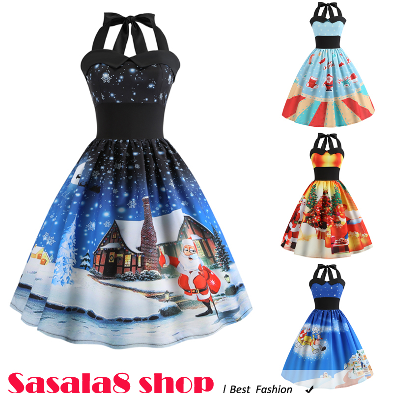 2019 Christmas tree dress women festival Halter dress 圣诞节