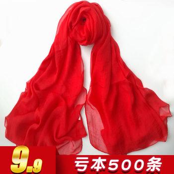 超长春秋洋气百搭薄防晒大红色丝巾
