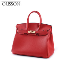 Cortical Inspection High-quality Top Cowhide Platinum Bag Handbag Red Bride Marriage Bag Kelly Bag