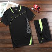 新款夏季男运动服套装健身跑步短袖短裤足球羽毛球服吸湿速干