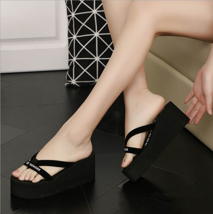 Cool slippers, summer womens new style all match with Korean fashion, foam bottom, high heel and skid resistance.